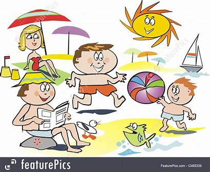 Beach Fun Cartoon Having Playing Leisure Illustration