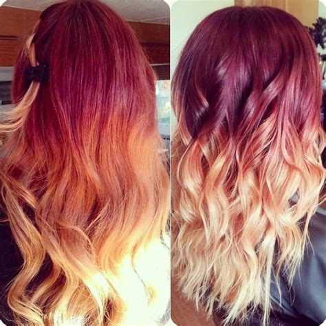 Red To Blonde Mermaid Dip Dye Ombre Indian Remy Clip In