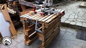 Fabriquer Un établi : comment fabriquer un tabli provisoire avec 3 palettes sans outils youtube ~ Melissatoandfro.com Idées de Décoration