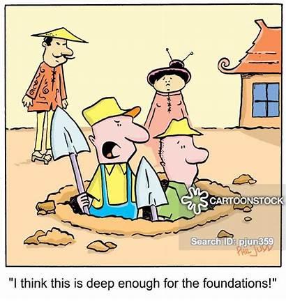 Hausbau Cartoon Cartoons Graben Building Foundations Karikaturen