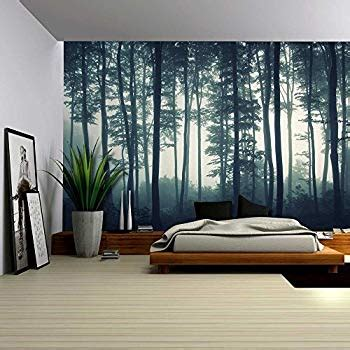 amazoncom wall landscape mural   misty forest