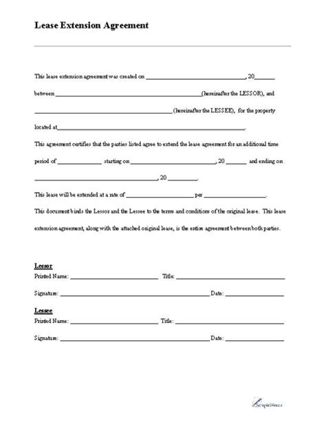 lease extension form   document