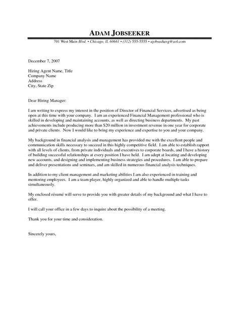 application letter sample  fresh graduate financial