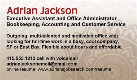 Business Card Resume Exles by Why You Need A Resume Business Card Notes From The