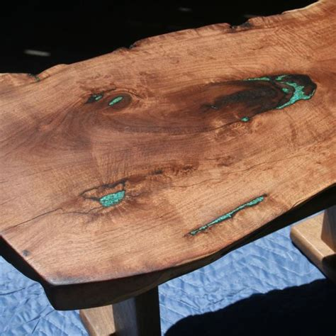 mesquite l with turquoise inlay custom made small mesquite table with natural edges and