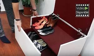 Coffre Rangement Chaussure : coffre banquette tiroir coulissant groupon shopping ~ Teatrodelosmanantiales.com Idées de Décoration