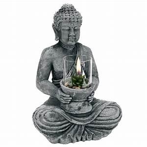 Statue Bouddha Interieur : grande statue bouddha avec bougie photophore en verre ~ Teatrodelosmanantiales.com Idées de Décoration