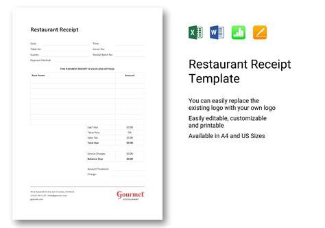 sample restaurant receipt template  word excel apple