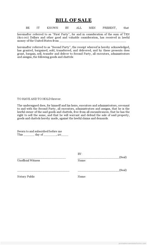 printable bill  sale form word template