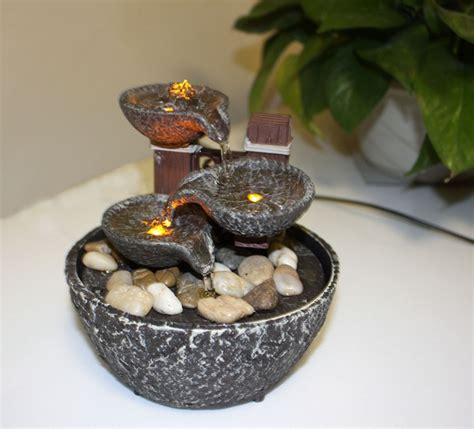 bowl small indoor fountain home decoration led lighting
