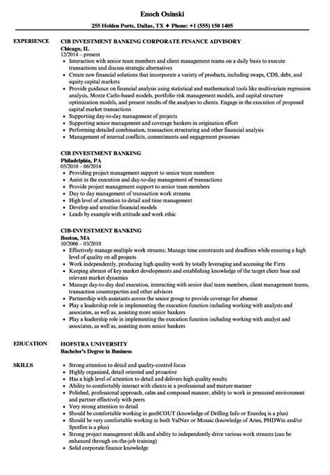 cib investment banking resume samples velvet jobs