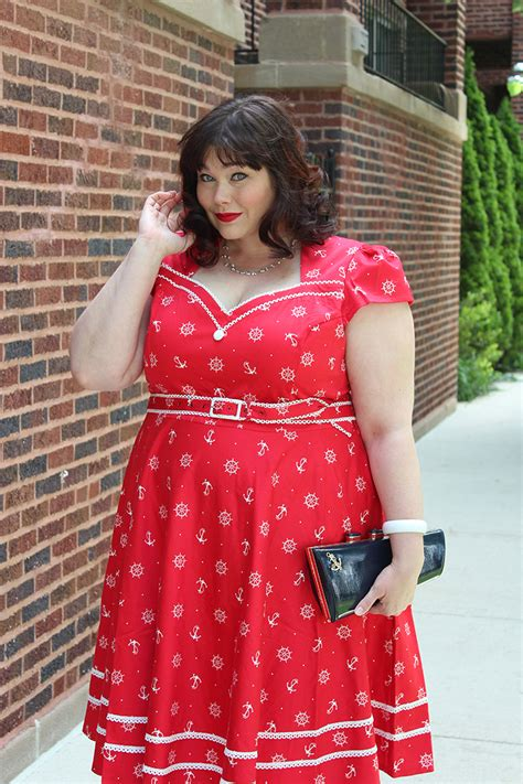 Voodoo Vixen Plus Size Retro Sailor Print Dress