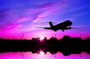 flights, love, pink, plane, purple, sunset - image ...