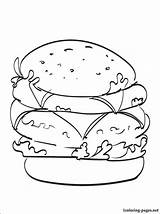 Cheeseburger Coloring Double Pages Printable Drawing Drinks Getcolorings Penciling Lovers Children Line 1coloring sketch template