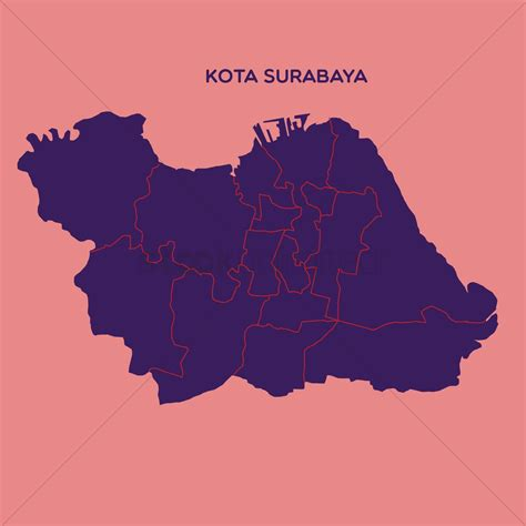map  kota surabaya vector image  stockunlimited