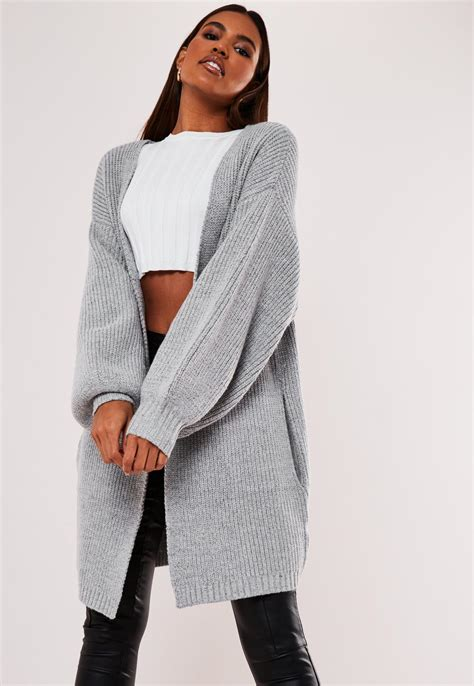 gray knitted balloon sleeve longline cardigan missguided