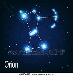 "Clip Art of The constellation ""Orion"" star in the night ..."