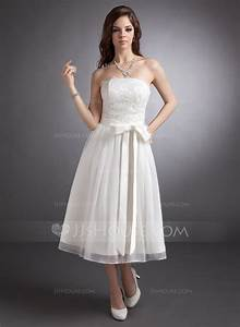 a line princess strapless tea length lace wedding dress With strapless tea length wedding dress