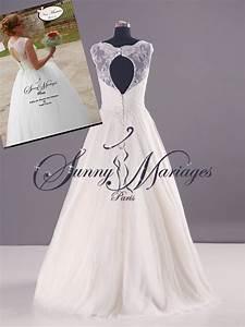 Robe de mariee dentelle manche et dos nu sunny mariage for Robe de mariée dentelle dos