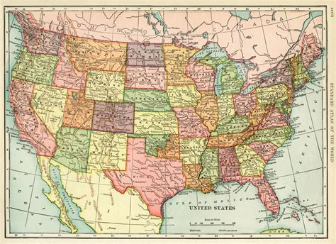 Antique Map Of United States