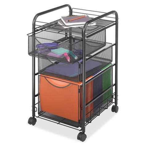 Storage Cart With Drawers And Wheels by Black Metal Steel Mesh Mobile Filing Cabinet Cart With 2