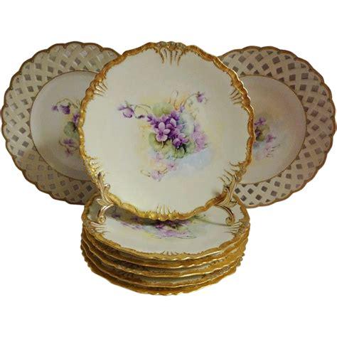 vintage french limoges ice cream dessert plate set hand