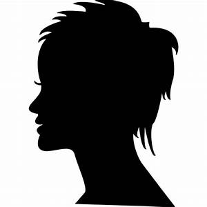 Short female hair on side view woman head silhouette ...