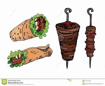 Shawarma Kebab Vector Illustration Chicken Drawing Doner