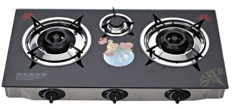 Indoor Glass Top Gas Stove 3 Burner , Table Top Three Burner Gas Stove Grizzly Wood Stove For Sale Imperial Commercial New Retro Gas Stoves Heat Driven Fan Lightweight Camping Harman Invincible Pellet Single Wall Stainless Steel Pipe Kitchen Cook