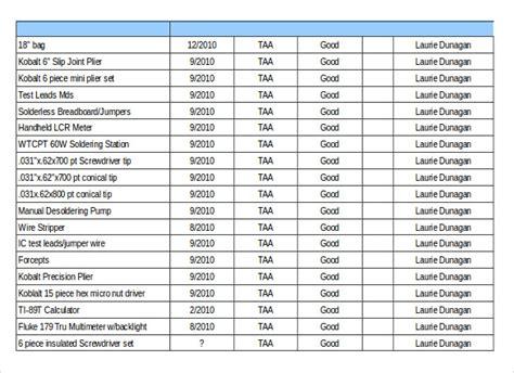 tool inventory templates steel inventory spreadsheet mechanic tool inventory list