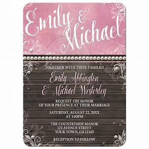 wedding invitations country flourish pink rustic wood With country house wedding invitations