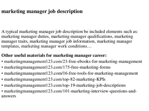 Sales And Marketing Director Typical Description Duties by Marketing Manager Description