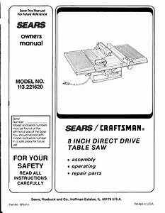 Craftsman 113221620 User Manual Table Saw Manuals And