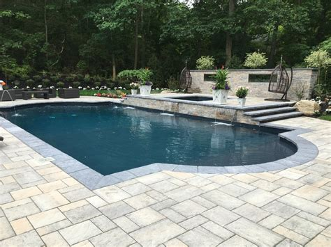 pool patio and spa set 20 x 40 end pool with raised spa and waterfall yelp