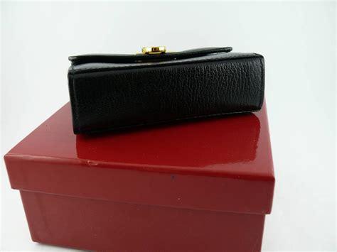 salvatore ferragamo grained black leather cross body micro bag  stdibs