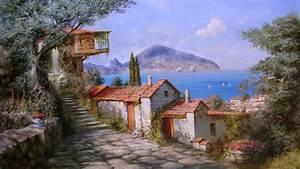 Download Wallpaper 2560x1440 Miliukov seaside town of ...