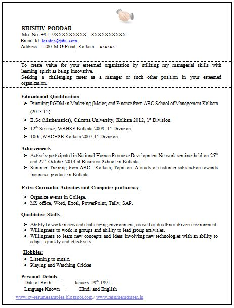 100 resume format for experienced sle template of a