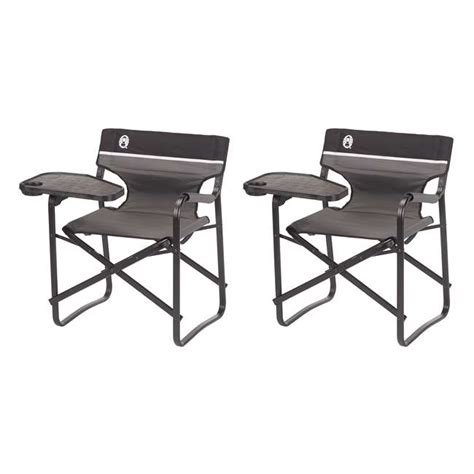 coleman aluminum deck chairs with swivel table and drink