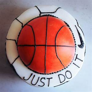 """basketball & soccerball cake with the NIKE logo & """"JUST DO ..."""