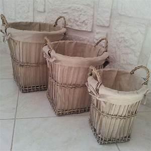 Petit Panier En Osier : panier en osier avec tissu en lin petit model ~ Dallasstarsshop.com Idées de Décoration