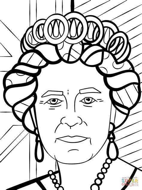 queen elizabeth  romero britto coloring page