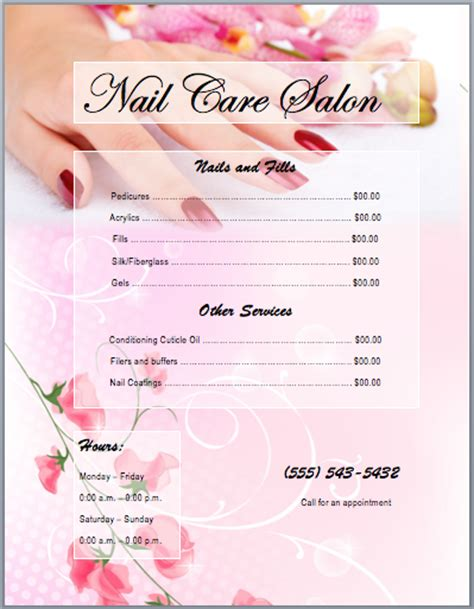 nail services salon price list template  word templates