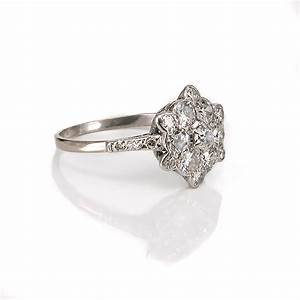 Art deco diamond cluster engagement ring for Cluster wedding rings
