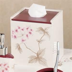 christina red cherry blossom bath accessories by croscill