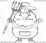Farmer Cartoon Coloring Clipart Pitchfork Waving Anger Plump Pages Cory Thoman Outlined Vector Template sketch template