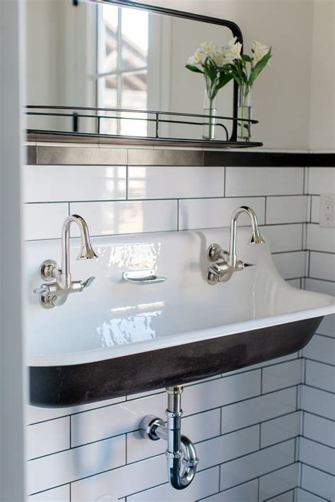 Bathroom Sinks And Faucets Ideas by Custom Bathroom With Cast Iron Trough Sink By