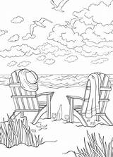 Coloring Beach Pages Chairs Scenes Activities sketch template