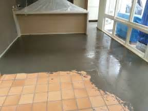 Basement Floor Tiles Over Concrete by Levelcova Resurfacing