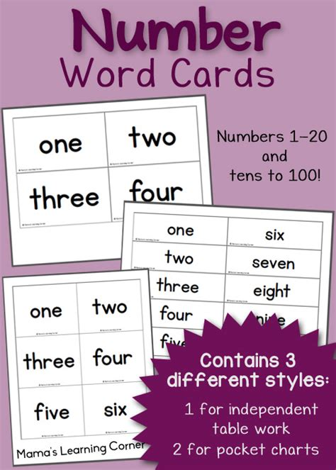 printable number word cards mamas learning corner