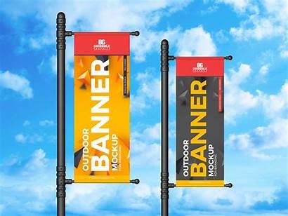 Banner Vertical Outdoor Mockup Psd Banners Branding